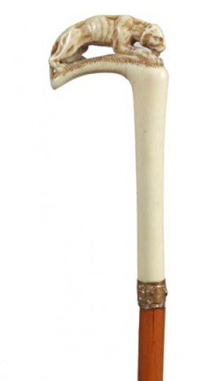 Courtesan Ivory Sword Cane-Mid 19th Century-A Carved
