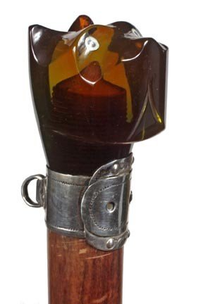 5: Carved Amber Dog Dress Cane-Art Deco-The carved head