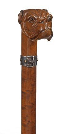 10: Carved Dog Dress Cane-Late 19th Century-A carved iv