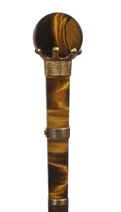 17: Tiger's Eye Dress Cane-Early 20th Century-A very ni