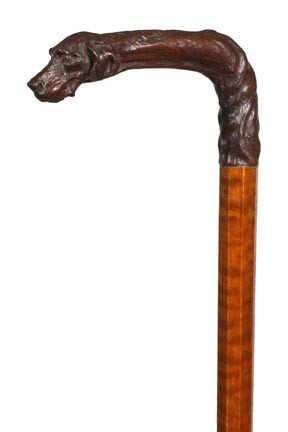 18: Carved Dog Cane-Circa 1880-A very nicely carved han