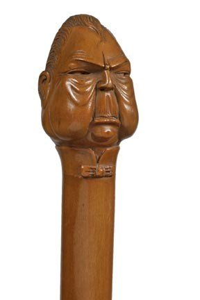 19: Wood Character Cane-Early 20th Century-A carved woo