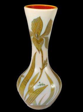 20: French Enamel Vase, signed Galle
