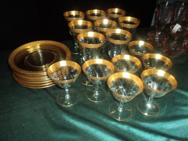 23: Fostoria Gold Banded Desert Set