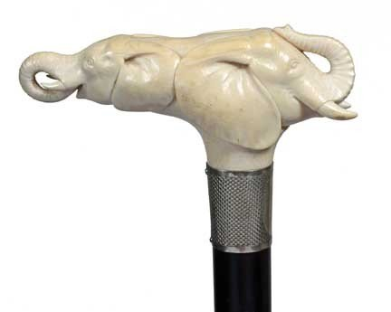 3: Ivory Elephant Cane-Early 20th Century-A double carv