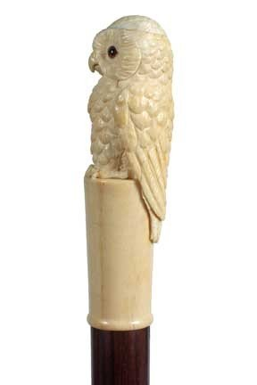 10: Ivory Owl Cane-Early 20th Century-A massive carved