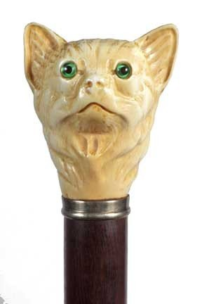 17: Ivory Cat Cane-Early 20th Century-An ivory cat with