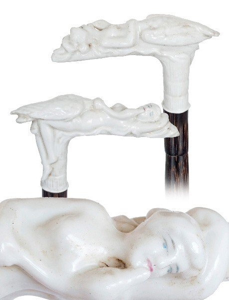 49: Viennese Porcelain Mildly Erotic Cane-Late 19th Cen