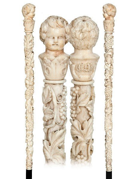 56: Wine Allegory Ivory French Cane-Late19th Century-A