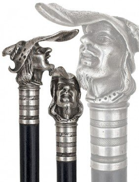 Knob Kerrie Silver Cane-19th Century-Well Modeled A
