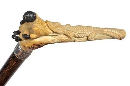 68: African American Stag Cane-Circa 1910-A carved stag