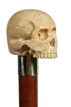 69: Carved Ivory Skull Cane-Early 20th Century-A beauti