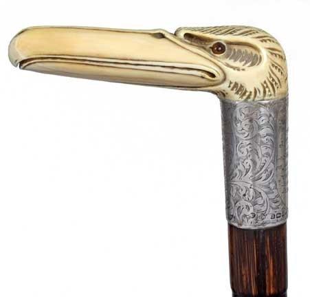 87: Nautical Ivory Presentation Cane-Dated 1912-A carve