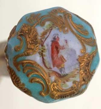 92: Porcelain Dress Cane-Circa 1885-A French porcelain