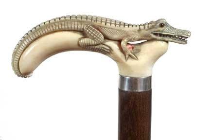 95: Ivory Gator Cane-Circa 1900-A carved full length ga