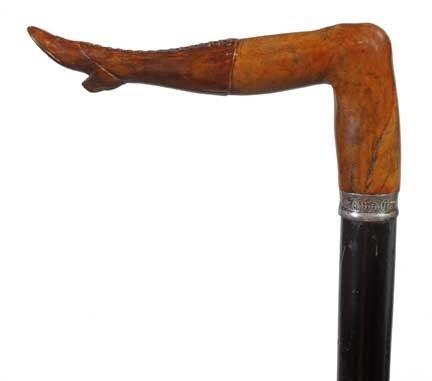 97: Briarwood Naughty Leg Cane-Late 19th Century-A carv