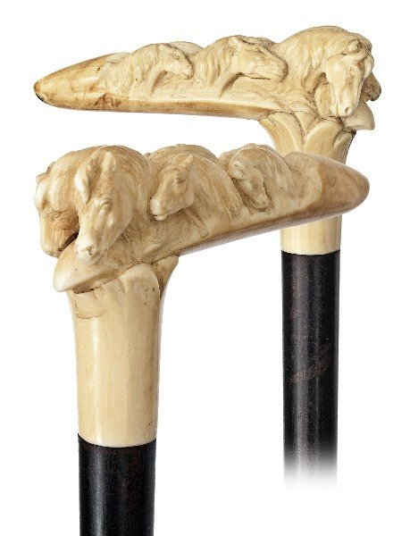 102: Ivory Stallions Anglo-American Cane- 19th century-