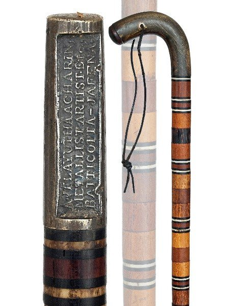 105: Anglo-Ceylonese Cane-19th Century-L-shape horn on