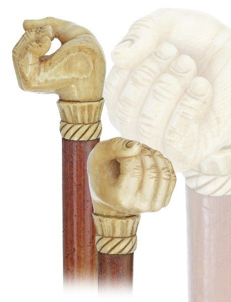 111: Reversed Ivory fist-England 19th Century-A carved