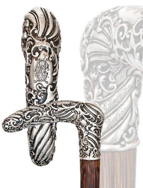 113: Austro-Hungarian Dress Cane -Circa 1880-Silver han