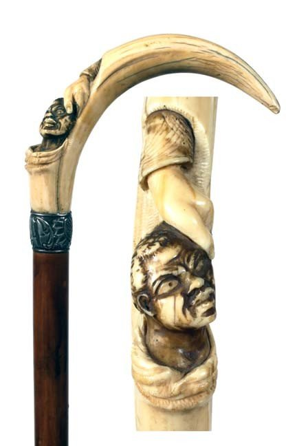 1: Antique cane - African American carving