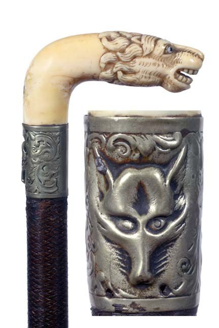 12: Antique cane and  walking stick Ivory Lion