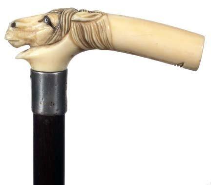 17: Antique cane  Ivory Horse