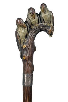 19: Antique cane  Carved  wooden birds
