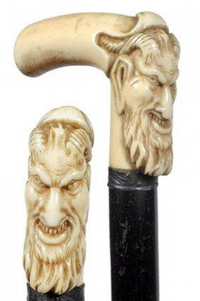 101: Antique cane ivory devil Halloween