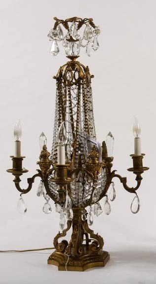 3:  Crystal and bronze Banquet Lamp