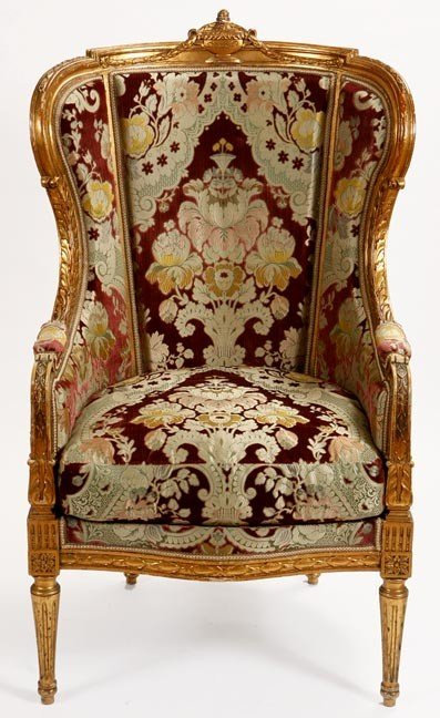 7: 7. Italian Brocade Chair-Early 20th Century-A fine p
