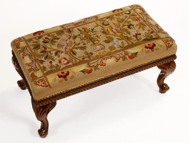 8: 8. Needle Point Foot Stool-Late 19th Century-A fine