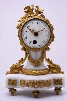 11. Gilt Bronze And Marble Clock-19th Century-A Fre