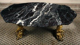 14. Gold Gilt Bronze And Marble Table-19th Century-