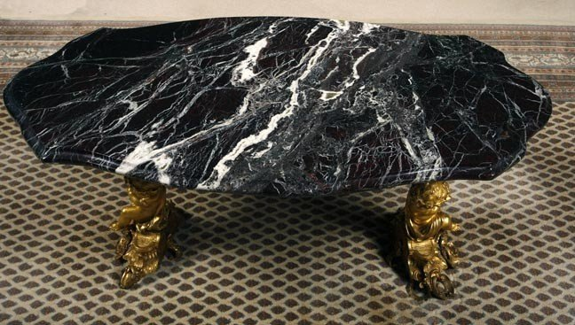 14: 14. Gold Gilt bronze and Marble Table-19th Century-