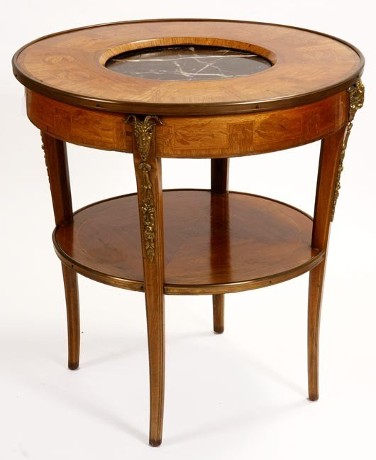 15: 15. French Empire Table-19th Century-A round inlaid