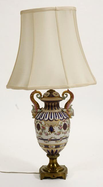 16: 16. Sevres Lamp-Early 20th Century-A porcelain deco