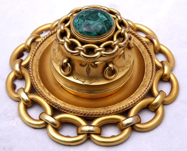 18: 18. Gilt bronze and Malachite Ink Well-Louis Philli