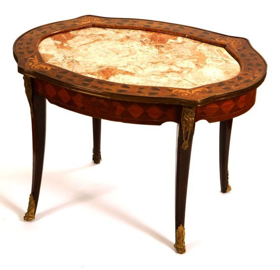 42: 42. French Inlaid and Marble Table-Circa 1880-Inlai