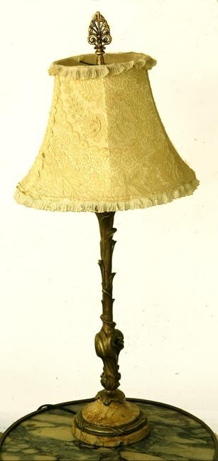 43: 43. Bronze and Marble Lamp-Circa 1900-A bronze lamp