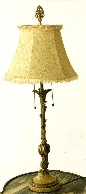 44: 44. Bronze and Marble Lamp-Circa 1900-A bronze lamp