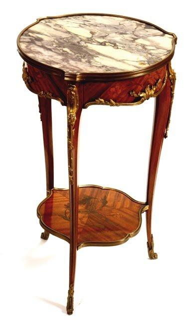 45: 45. French Marble Inlaid Table-Late 19th Century-A