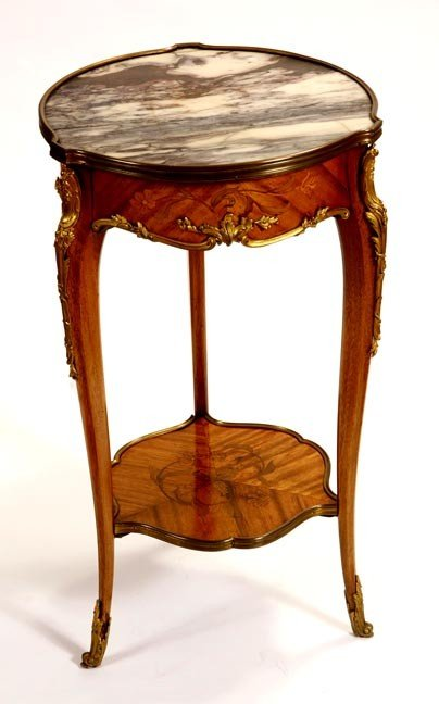 46: 46. French Marble Inlaid Table-Late 19th Century-A