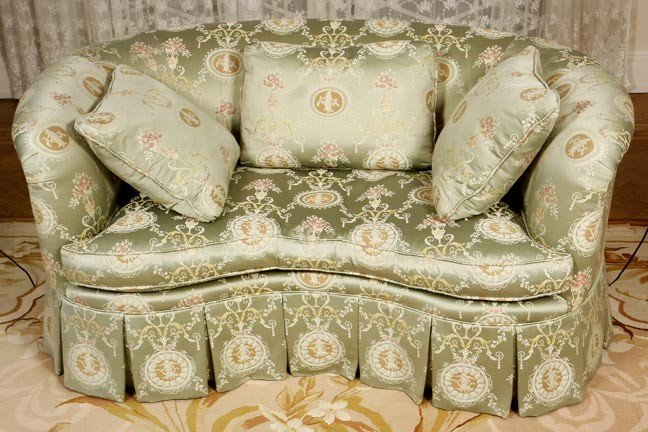 47: 47. Modern French Art Nouveau Sofa-A rich brocade f