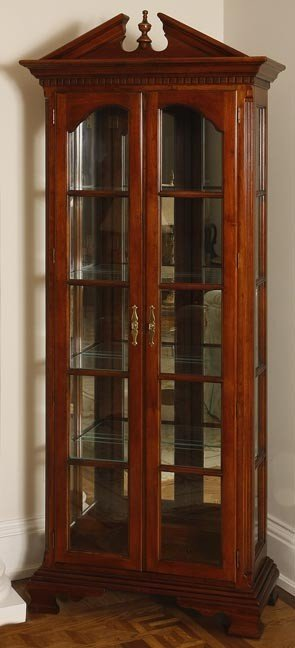48: 48. Modern Solid Cherry Lighted Curio Cabinet-Made