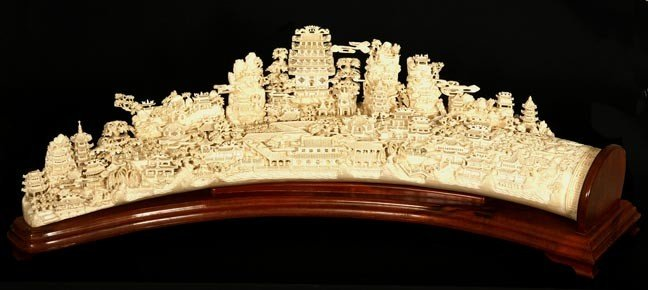 """216: 216. Massive Faux Ivory Carving on Wood Stand-44"""""""