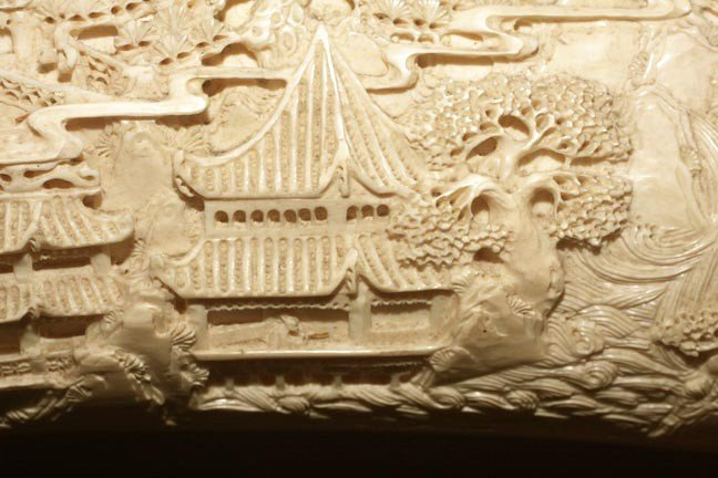 """216: 216. Massive Faux Ivory Carving on Wood Stand-44""""  - 5"""