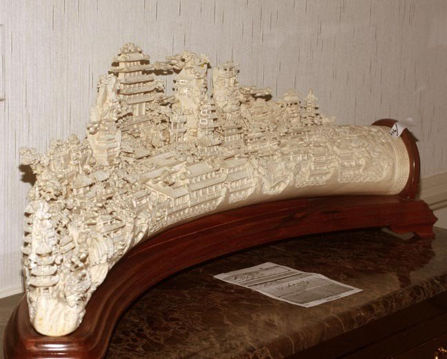 """216: 216. Massive Faux Ivory Carving on Wood Stand-44""""  - 7"""