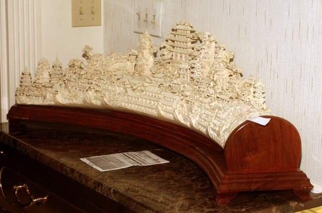 """216: 216. Massive Faux Ivory Carving on Wood Stand-44""""  - 8"""