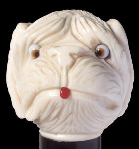 8: 8. Ivory Dog Dress Cane-Early 20th Century-Carved iv